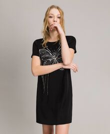 Butterfly embroidery and fringe tunic dress Black Woman 191TP269C-01