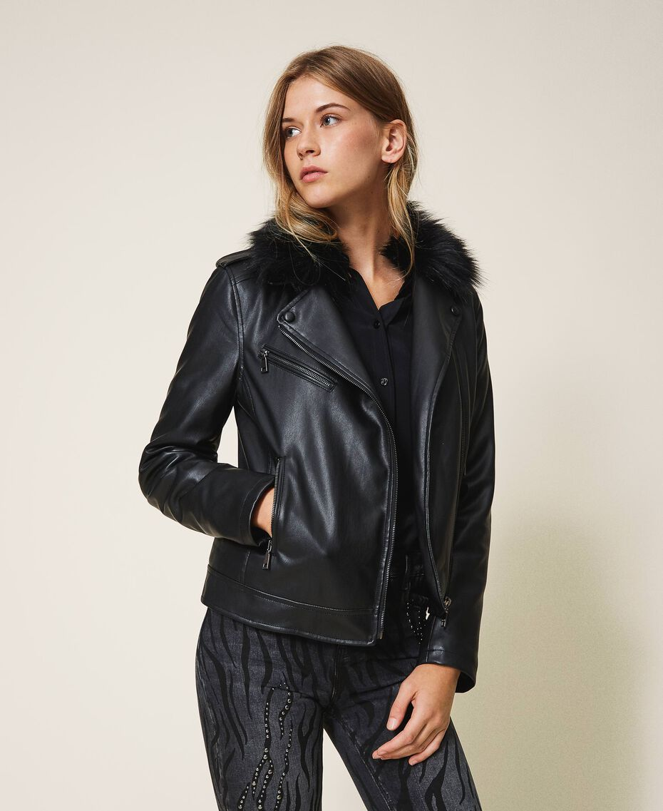Faux leather biker jacket Black Woman 202MP2090-02
