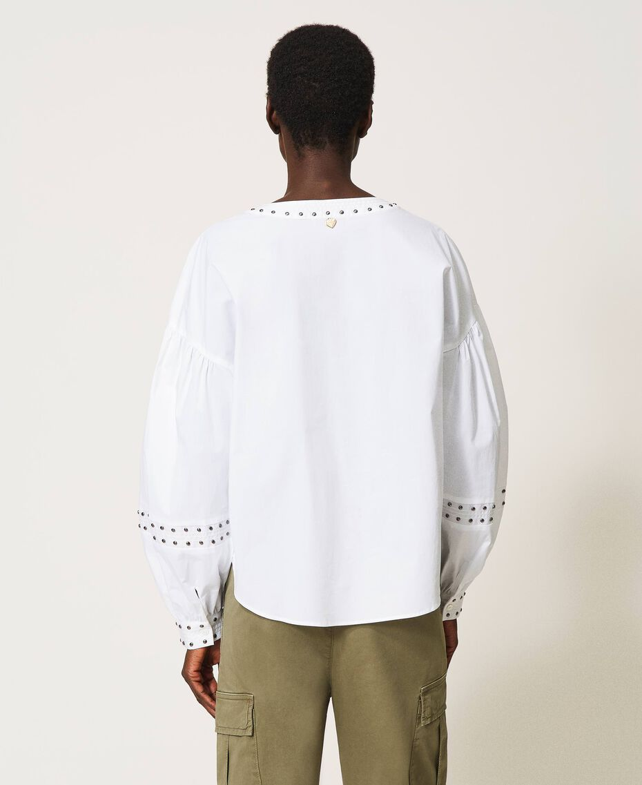Blouse en popeline avec clous Blanc Femme 211TT2482-03
