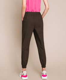 Poplin joggers with embroidery Elm Green Woman 201ST2026-03