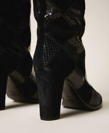 Stiefel aus Leder mit Rautendessin Zweifarbige Rauten Schwarz / Schwarz Frau 202TCT150-03