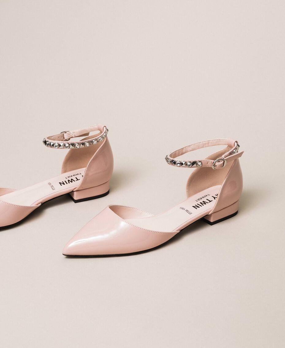 Лаковые туфли-балетки со стразами Черный женщина 201MCP01G-01