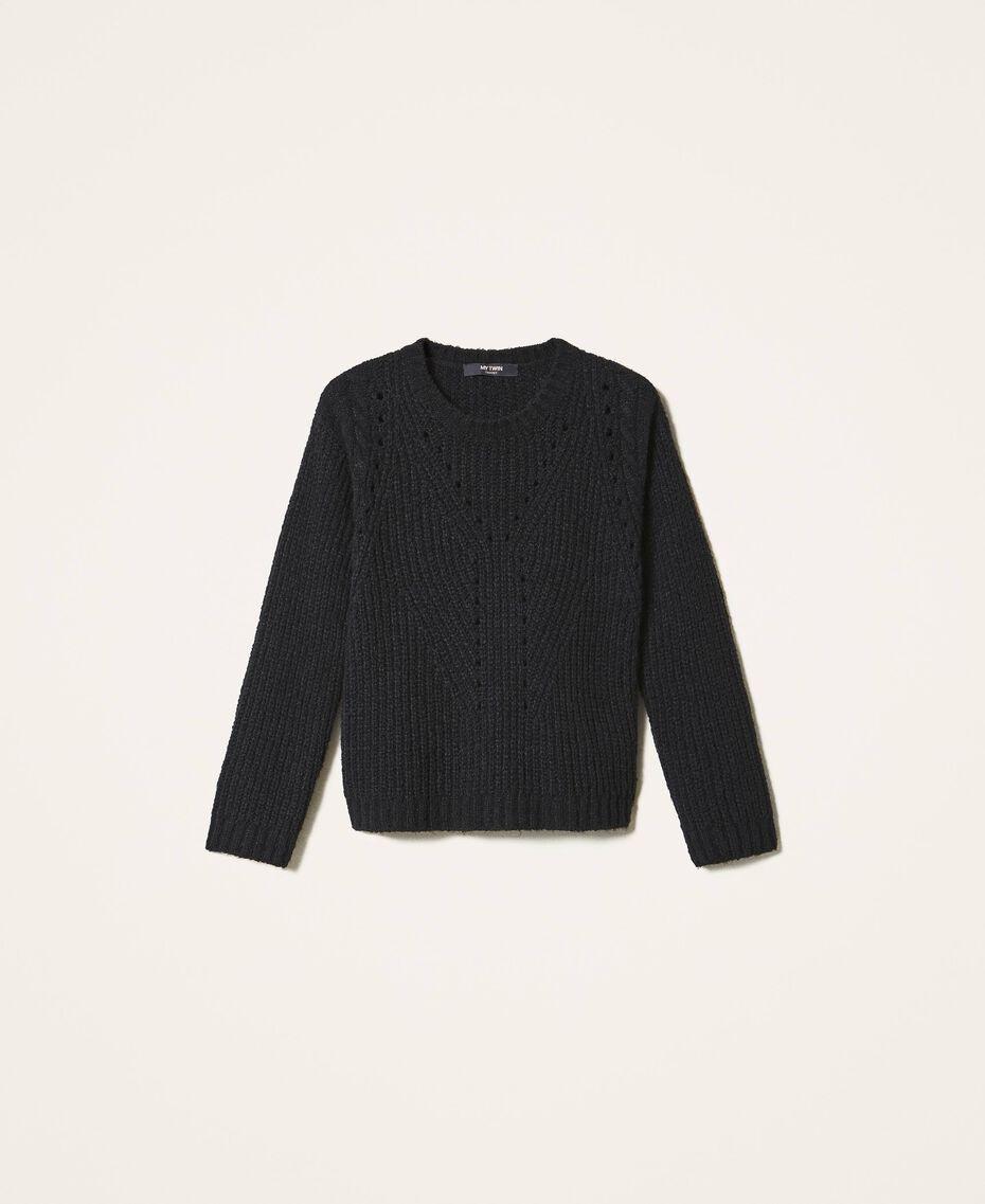 Mixed stitch work jumper Black Woman 202MP3210-0S