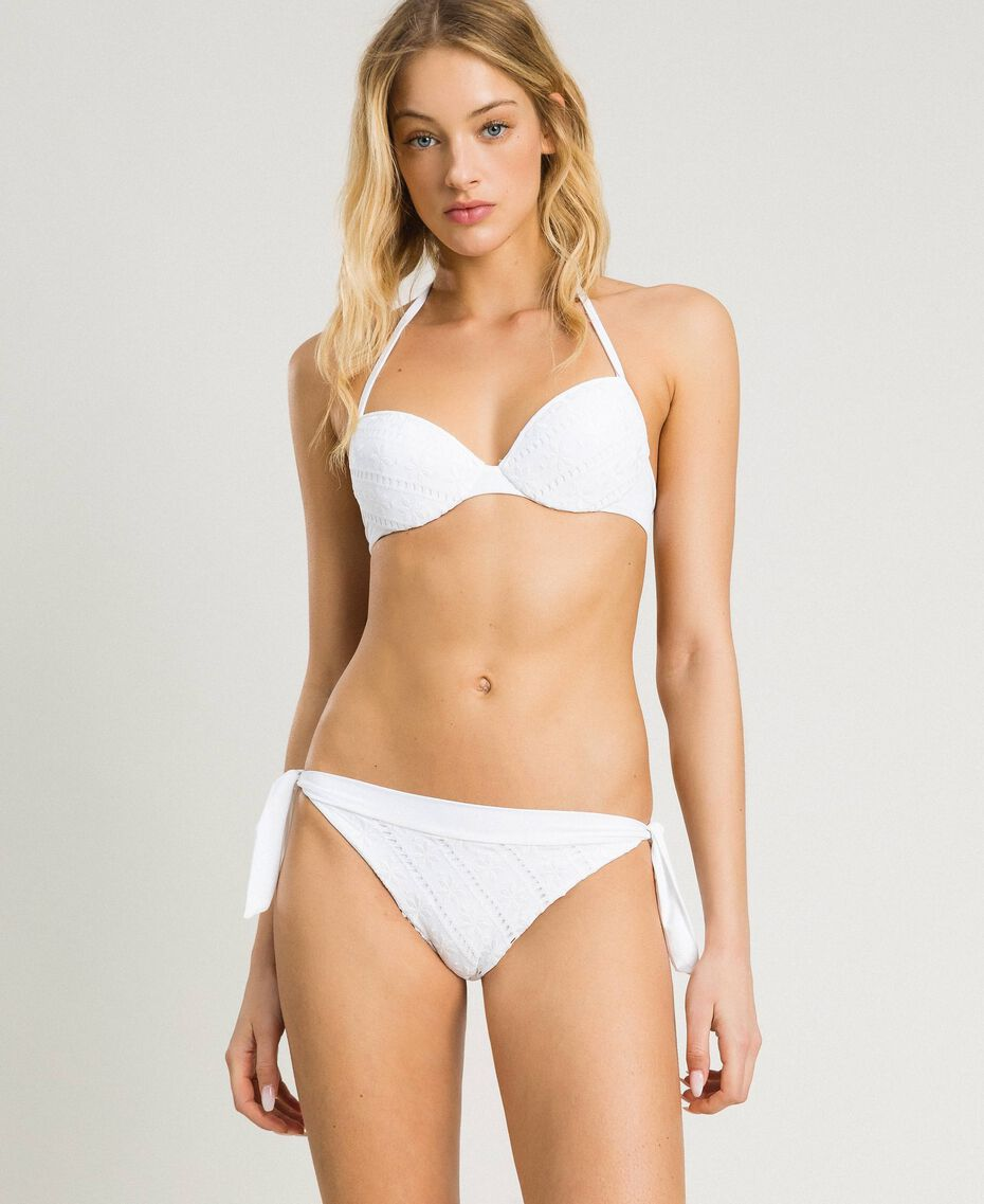 Brazilian bikini bottom with broderie anglaise embroidery White Woman 191LBME77-02