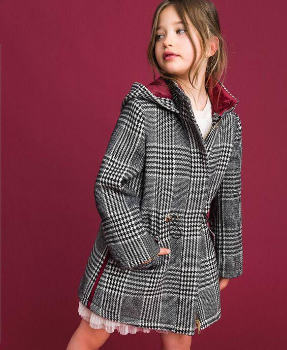 Houndstooth wool blend parka coat