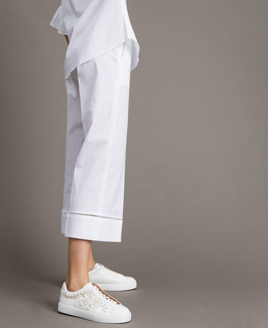 Pantalon en popeline avec broderies Blanc Femme 191TT2244-02
