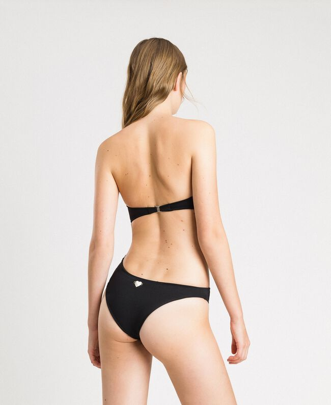 Padded one-piece swimsuit with ring and cut-out detail Black Woman 191LBM2ZZ-03