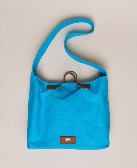 Canvas shopper with shoulder strap