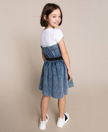 "Denim dress with gathering Two-tone ""Papers"" White / Medium Denim Child 201GJ2010-04"