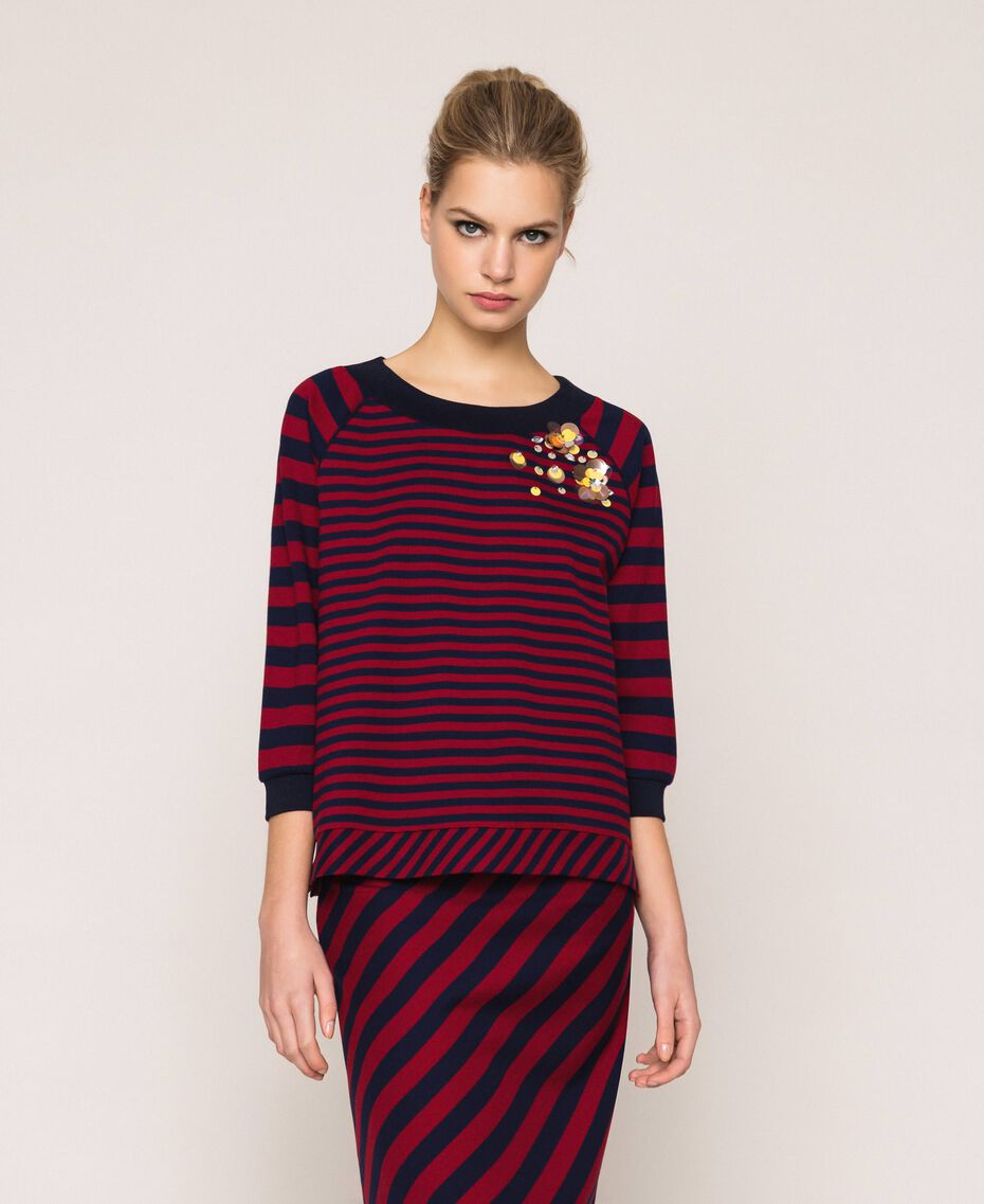 Striped sweatshirt with sequin embroidery Crimson Red/ Midnight Blue Stripes Woman 201ST2190-01