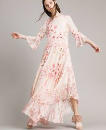 """Robe longue en georgette à motif floral Imprimé Rose """"Bouton De Rose / Peach Mix"""" Femme 191TP2718-01"""