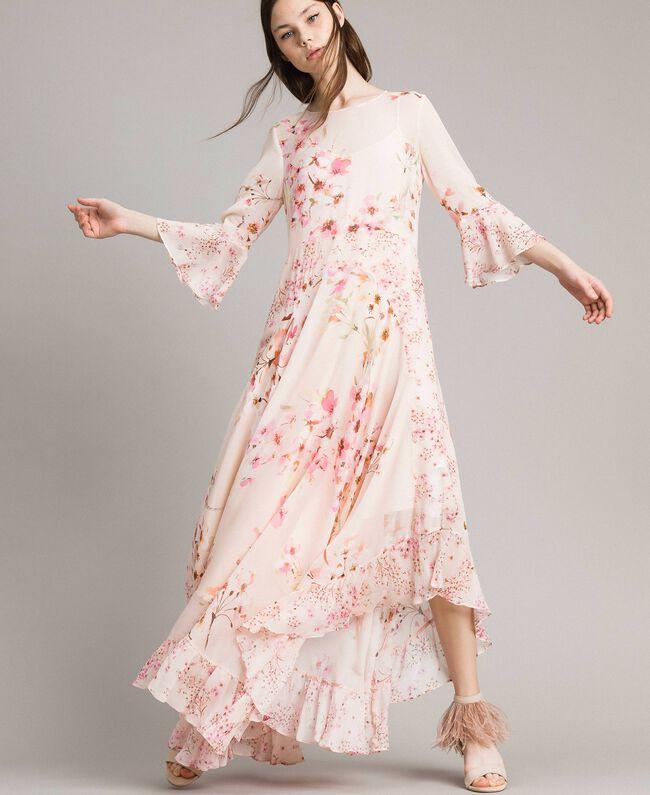 """Georgette-Maxikleid mit Blumenmuster Motiv """"Blossom / Peach Mix"""" Pink Frau 191TP2718-01"""