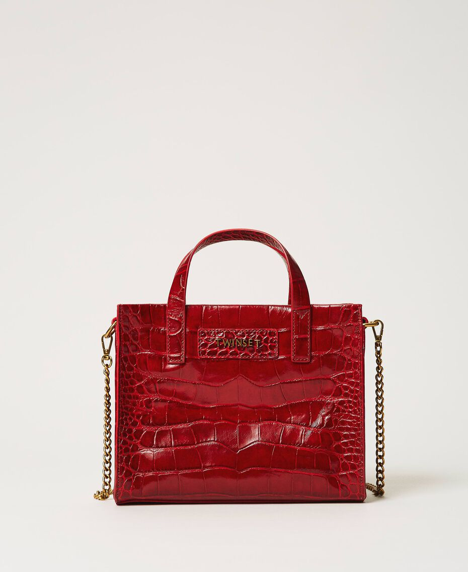 "Small leather Twinset Bag with crocodile print ""Cherry"" Red Croc Print Woman 202TB7111-01"