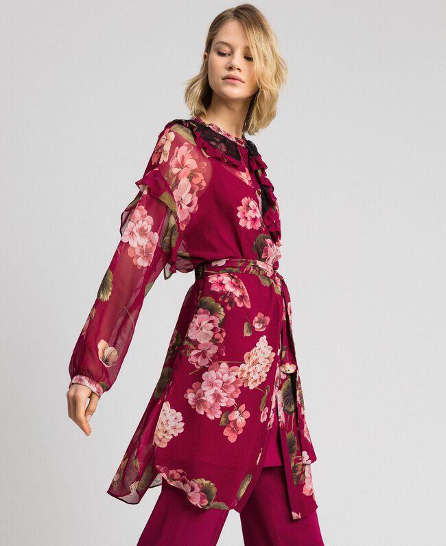 Robe chemisier en crépon avec imprimé floral Imprimé Rouge Betterave Géranium Femme 192TP2728-01