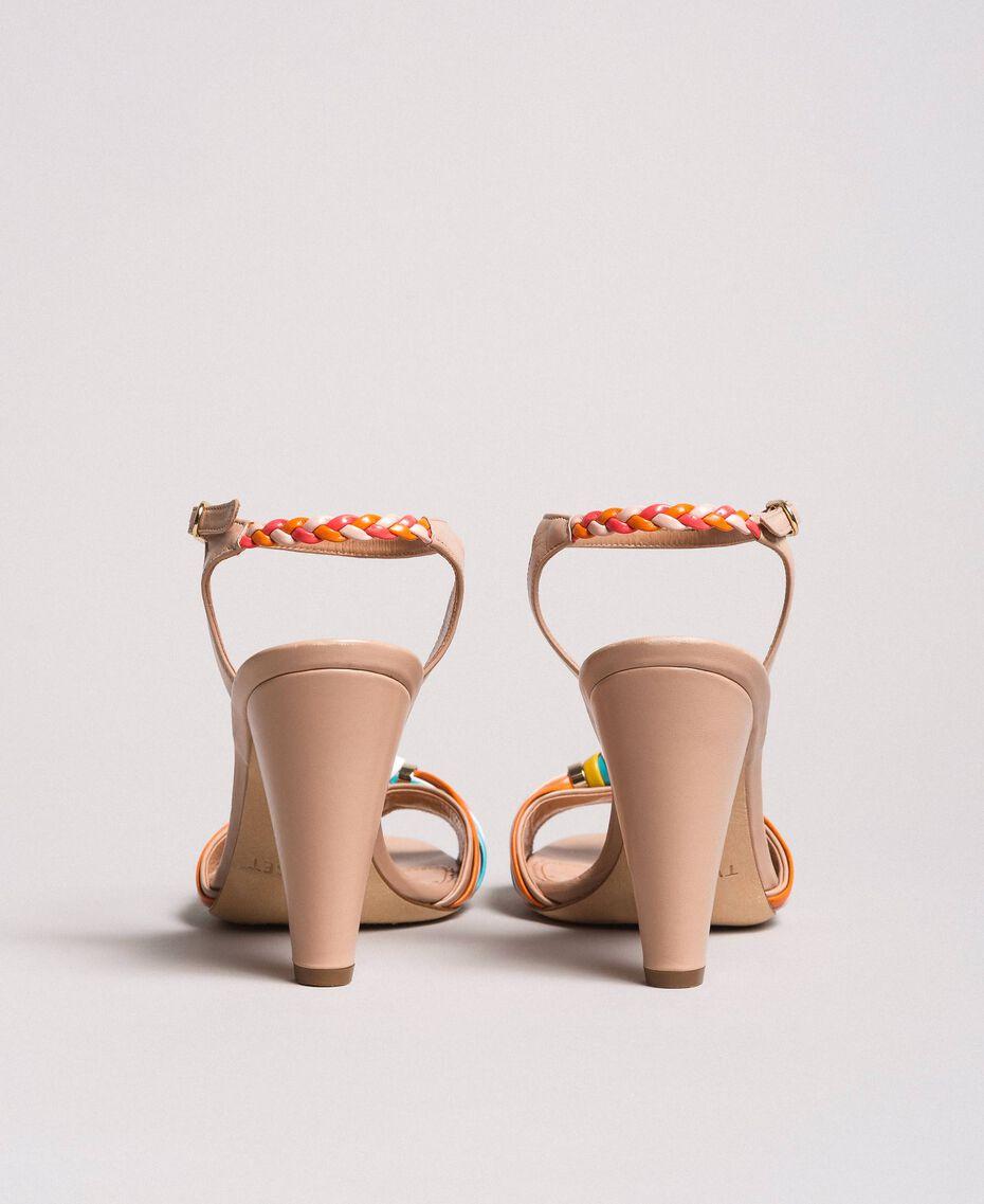 Zweifarbige Leder-Sandalen Nudebeige Frau 191TCT018-02