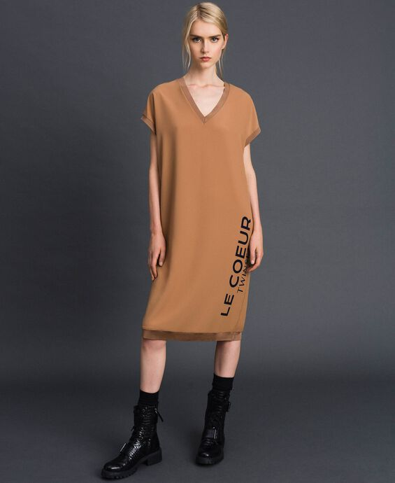 Crêpe de Chine dress with logo print