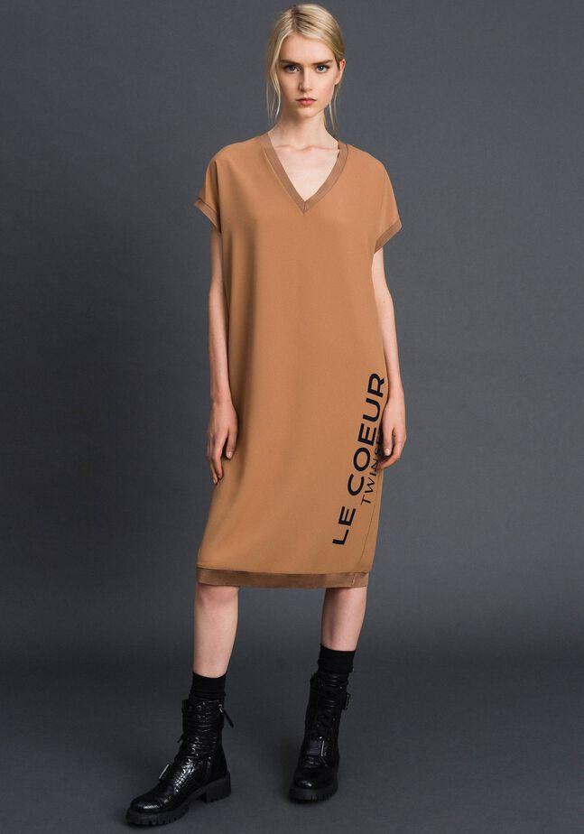 Crêpe de Chine dress with logo print