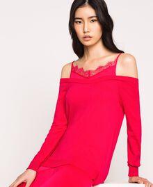 Knit dress with slip effect satin Black Cherry Woman 201TP3070-05