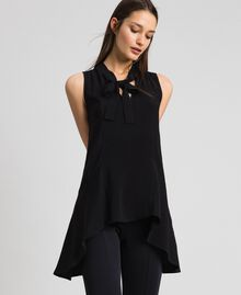 Georgette blouse with pussy bow Black Woman 192TP2383-02