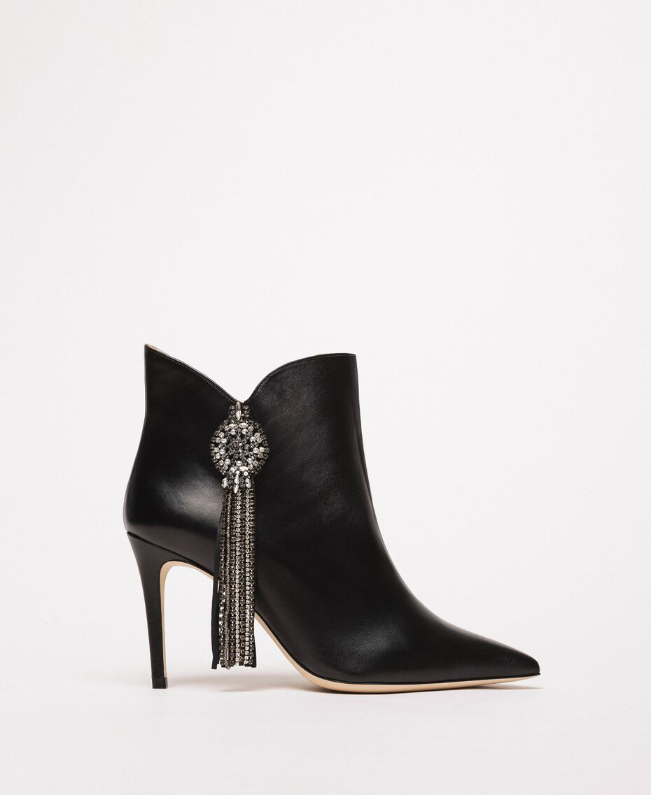 Nappa leather ankle boots with jewels and fringes Black Woman 201TCP030-01