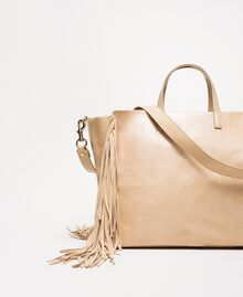 Large leather shopper with fringes Nougat Beige Woman 201TO8140-03