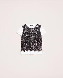 Футболка с кружевом макраме Двухцветный Лилия / Черный женщина 201MP2356-0S