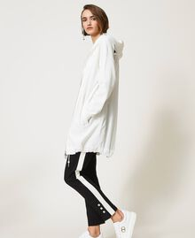 Maxi sweat-shirt avec insertions en taffetas Blanc Vanille Femme 211MT2060-03