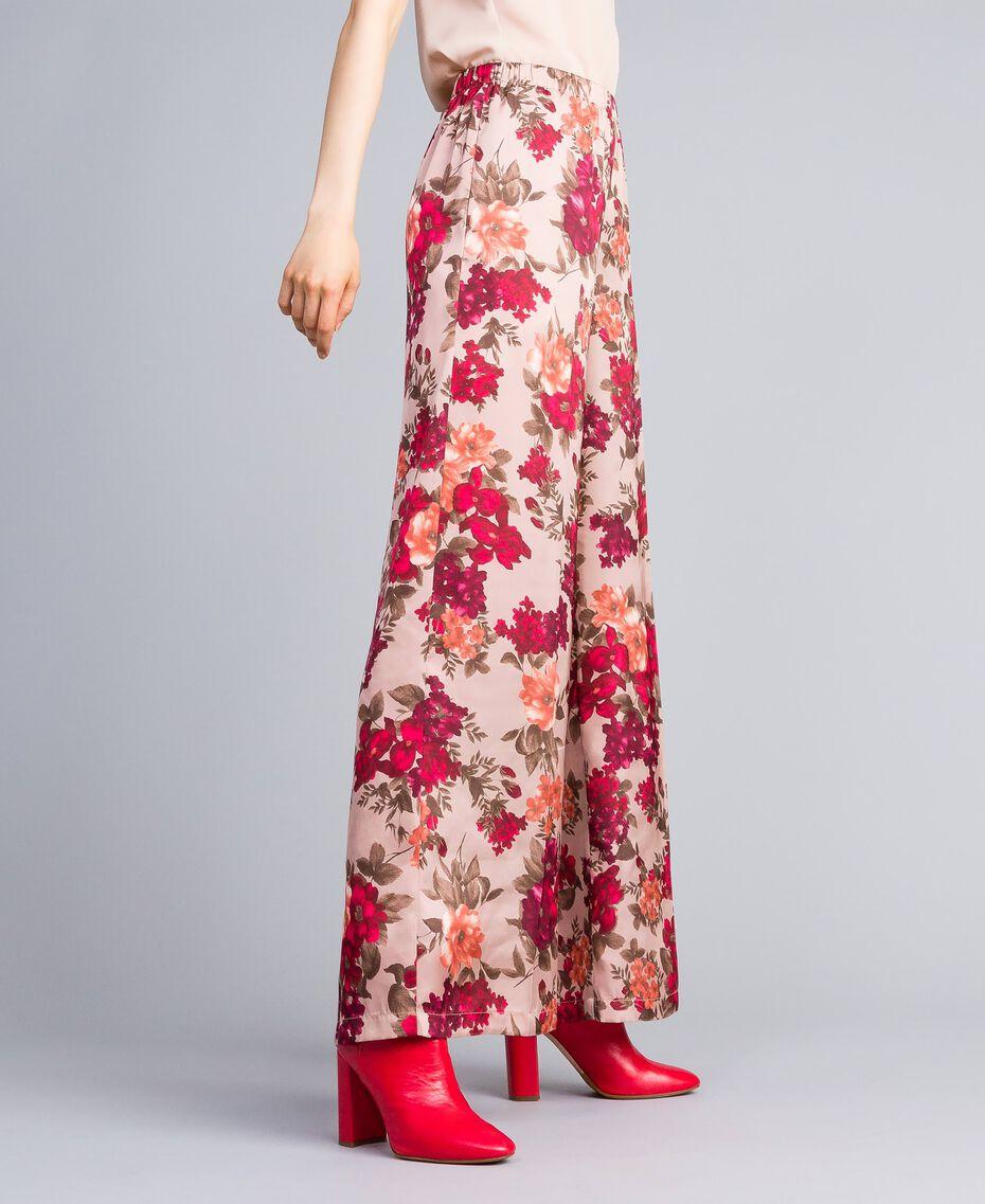 """Pantaloni palazzo con stampa fiori Stampa Floreale Rosa """"Nudo"""" Donna SA82E3-01"""
