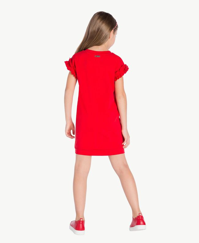 Robe ruches Rouge Grenade Enfant GS82KP-04