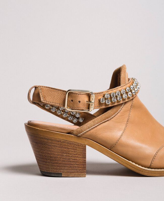 Texan leather sabot shoes with rhinestones Nougat Beige Woman 191TCT09L-05
