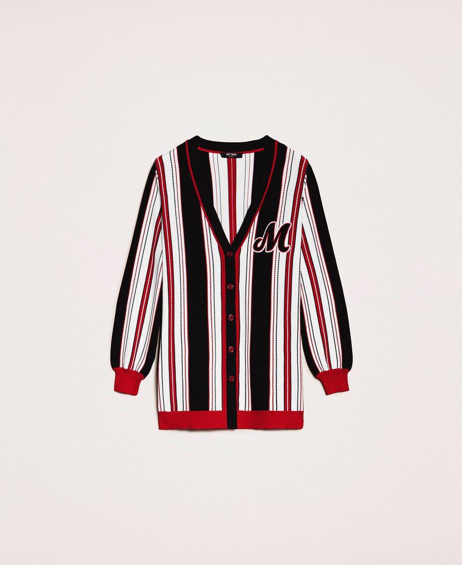Maxi cardigan rayé Multicolore Vanille / Noir / Rouge «Vénitien» Femme 201MP3050-0S