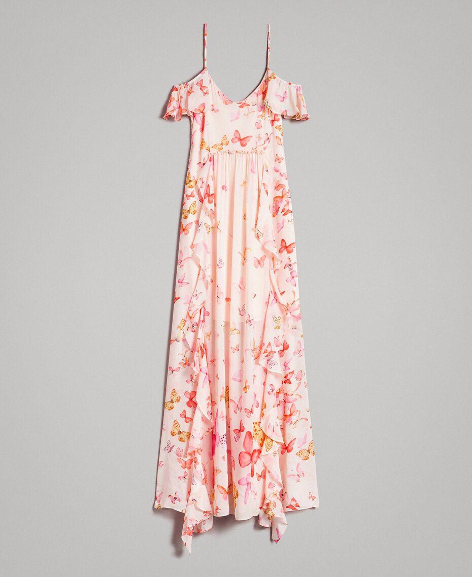 Robe longue en georgette à imprimé papillon Imprimé Papillon Rose Mixte Femme 191TT2391-0S