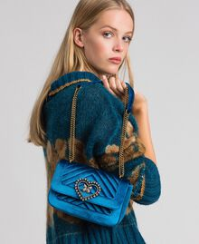 Small velvet shoulder bag Blue Caribbean Blue Woman 192TO8073-0S