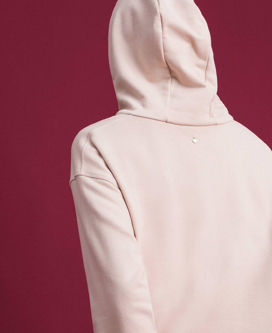 Oversize-Sweatshirt mit Print an der Vorderpartie Blütenknospenrosa Frau 192TT2130-05