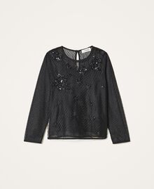 Tulle blouse with embroidery Black Child 202GJ2611-0S