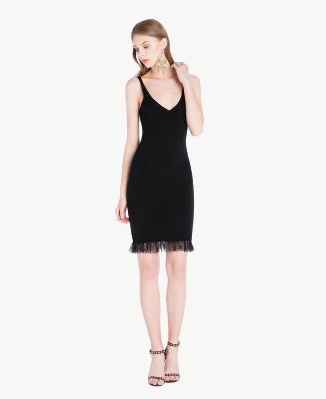 Kleid aus Viskose Schwarz Frau TS832Q-01