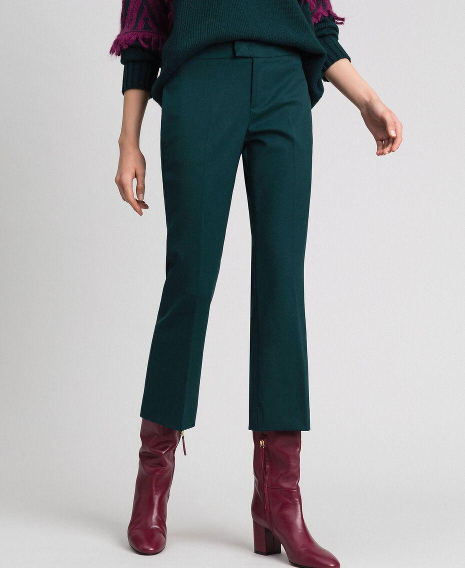 Pantaloni flare in lana Verde Dark Donna 192TP2353-02