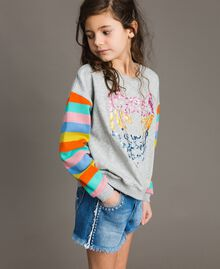 Cotton knitted striped sweatshirt Melange Grey / Multicolour Striping Child 191GJ2451-02