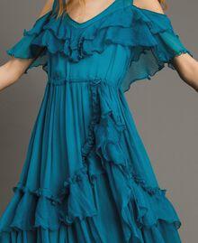 Silk crepon long dress with flounces Tile Blue Woman 191TT2423-04