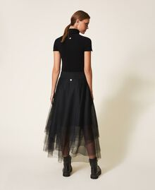 Jupe longue en tulle avec logo Noir Femme 202TT2T56-03
