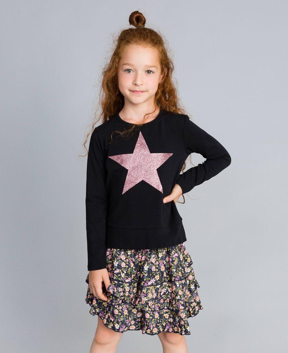 Printed viscose full skirt Micro Flower Print Child GA82TA-0T