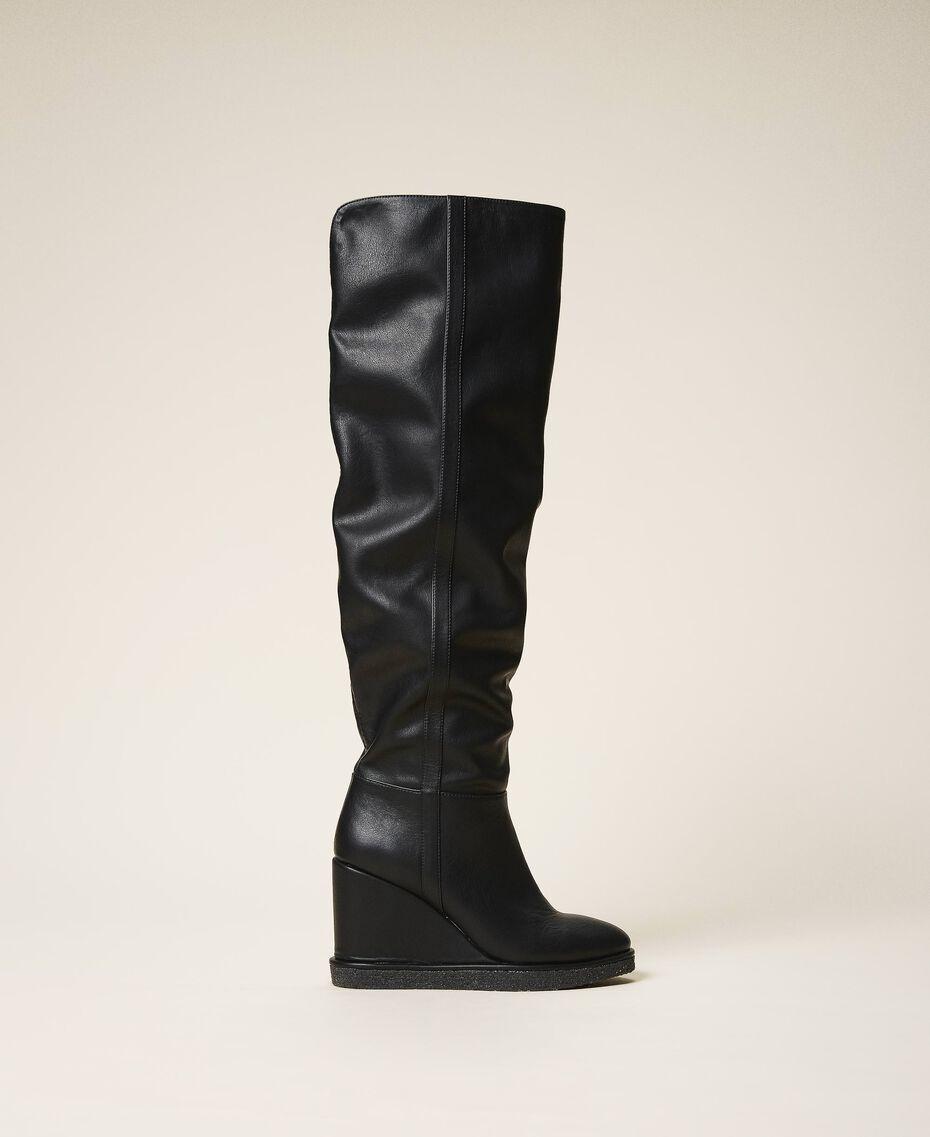 Stivali cuissardes con zeppa Nero Donna 202MCT170-03
