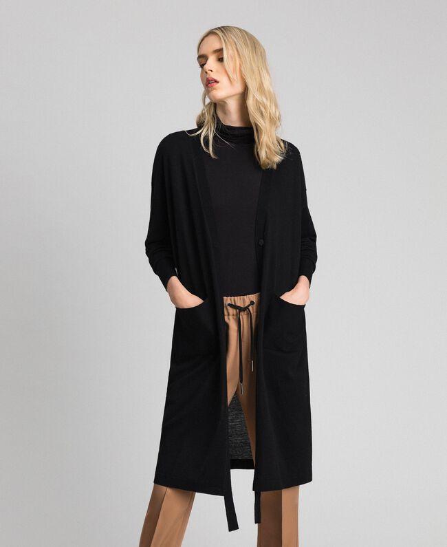 size 40 a9b42 976ed Maxi cardigan in misto lana Donna, Nero | TWINSET Milano