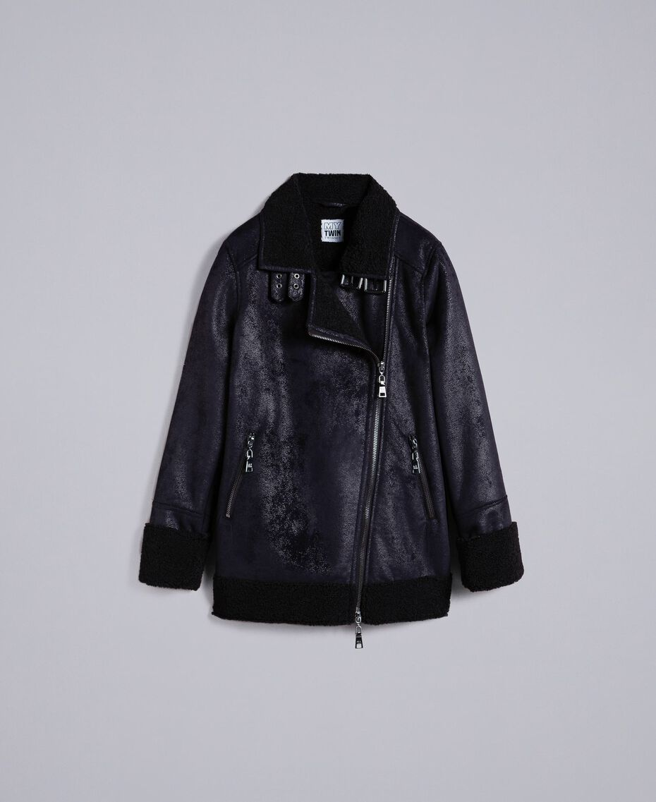 Faux shearling jacket Black / Black Woman JA82G1-0S