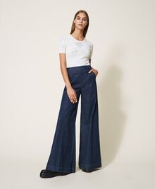 Wide leg jeans with pockets Dark Denim Woman 202MP222C-02