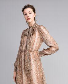 Long animal print chiffon silk dress Camel Snake Print Woman PA827B-04