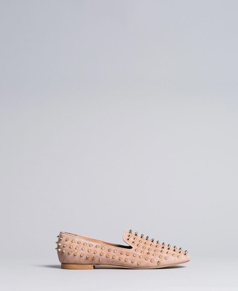 """Slippers in pelle scamosciata con borchie Rosa """"Pale Pink"""" Donna CA8TFJ-02"""