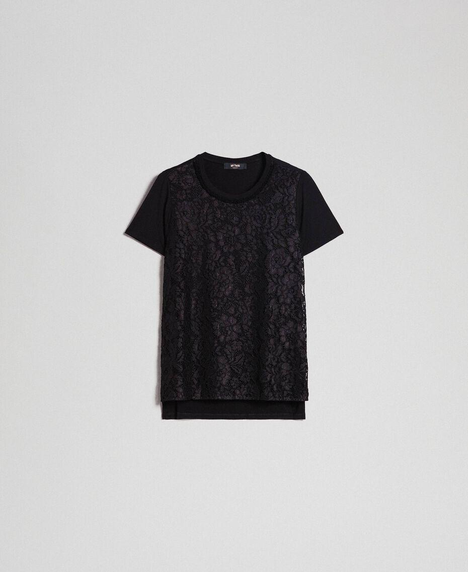 Macramé lace inlay blouse Black Woman 192MP2492-0S