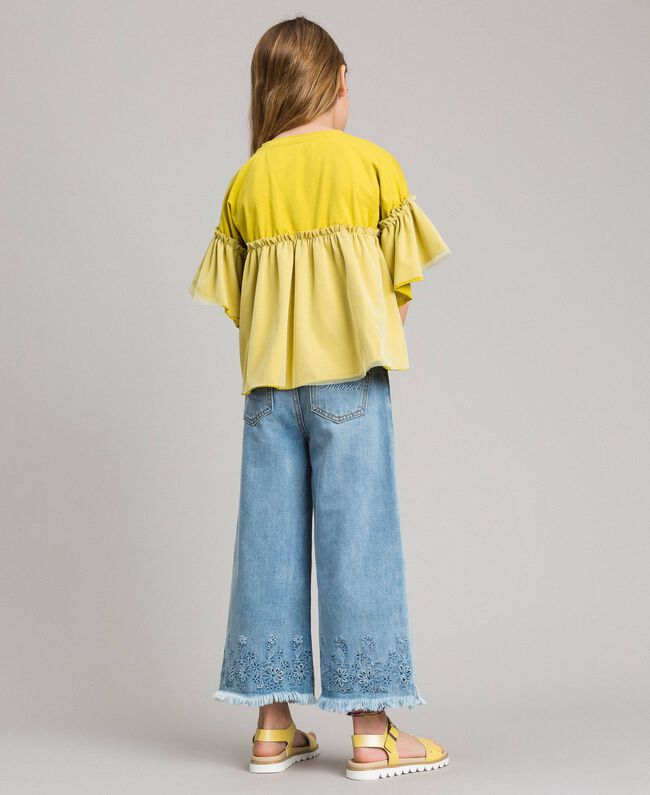 Wide leg jeans with broderie anglaise embroidery Light Denim Child 191GJ2250-03