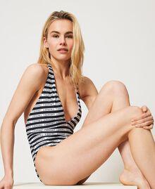 Badeanzug mit Logostreifen Streifen Weiß / Schwarz Frau 211LMMP00-01
